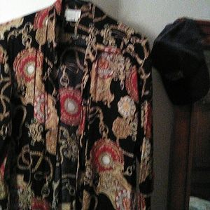 Button down clock print blouse